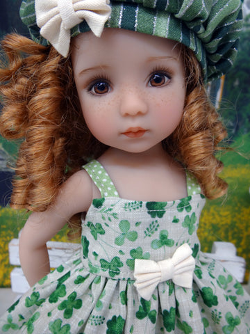 Field of Clovers - dress, hat, tights & shoes for Little Darling Doll or 33cm BJD
