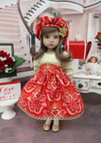 Filigree Heart - dress, hat, tights & shoes for Little Darling Doll or 33cm BJD