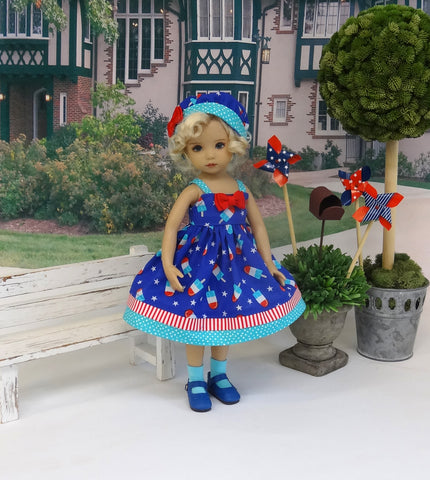 Firecracker Popsicle - dress, hat, socks & shoes for Little Darling Doll or 33cm BJD