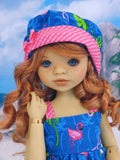 Flirty Flamingo - babydoll top, bloomers, hat & sandals for Little Darling Doll