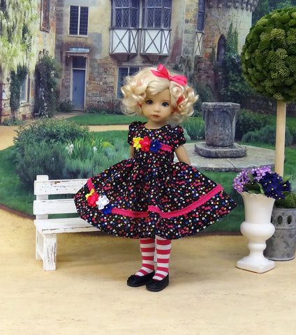 Flirty Floral - dress, tights & shoes for Little Darling Doll or other 33cm BJD