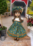 Floral Flourish - dress, hat, tights & shoes for Little Darling Doll or 33cm BJD