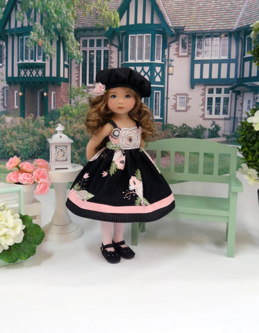 Floral Sophisticate - dress, hat, tights & shoes for Little Darling Doll or 33cm BJD