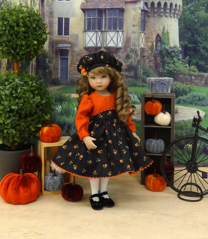Floral Spice - dress, hat, tights & shoes for Little Darling Doll or 33cm BJD