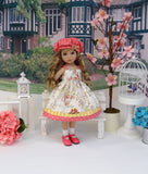 Floral Trellis - dress, hat, socks & shoes for Little Darling Doll or 33cm BJD