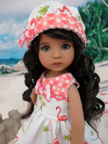 Florida Flamingo - dress, hat, socks & shoes for Little Darling Doll or other 33cm BJD