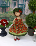Flowering Quince - dress, hat, tights & shoes for Little Darling Doll or 33cm BJD