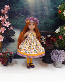 Flurry of Leaves - dress, hat, tights & shoes for Little Darling Doll or 33cm BJD