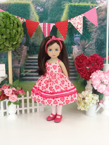 Fluttering Hearts - dress, tights & shoes for Little Darling Doll or 33cm BJD
