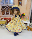 Folk Floral - dress, hat, tights & shoes for Little Darling Doll or other 33cm BJD