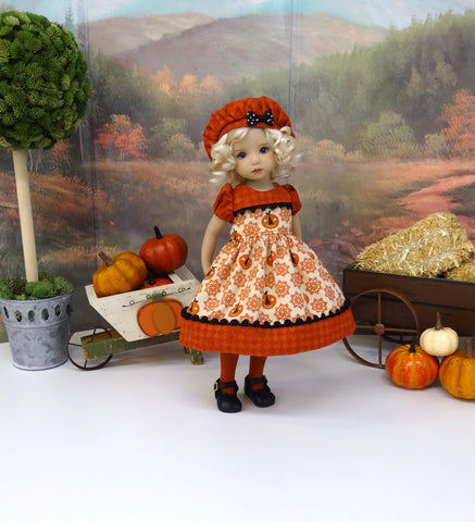 Folk Jack O'Lantern - dress, beret, tights & shoes for Little Darling Doll or 33cm BJD