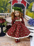 Forest Floral - dress, hat, tights & shoes for Little Darling Doll or 33cm BJD