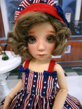Freedom Flag - babydoll top, bloomers, hat & sandals for Little Darling Doll or 33cm BJD