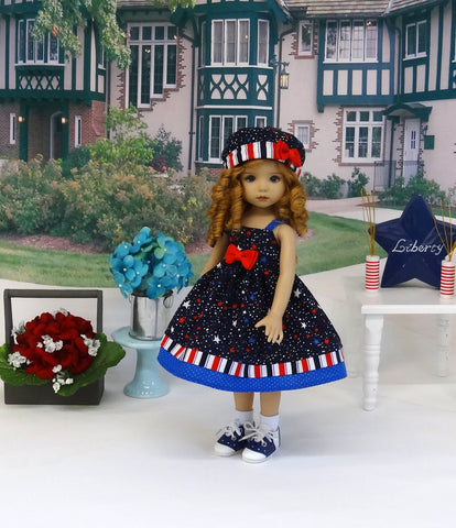 Freedom Stripes - dress, hat, socks & shoes for Little Darling Doll or 33cm BJD
