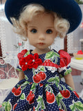 Fresh Cherries - dress, hat, tights & shoes for Little Darling Doll or 33cm BJD