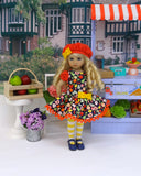 Fresh Fruit Stand - dress, beret, tights & shoes for Little Darling Doll or other 33cm BJD