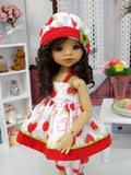 Fresh Strawberries - babydoll top, bloomers, hat & sandals for Little Darling Doll