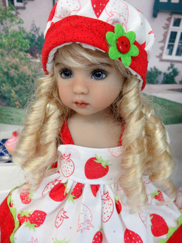 Fresh Strawberries - babydoll top, bloomers, hat & sandals for Little Darling Doll or 33cm BJD