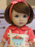 Fresh Strawberry Jam - dress, blouse, socks & shoes for Little Darling Doll or 33cm BJD