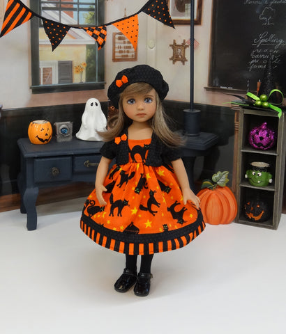 Fright Night - dress, jacket, hat, tights & shoes for Little Darlings Doll or 33cm BJD