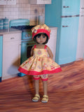 Frosted Cupcake - babydoll top, bloomers, hat & sandals for Little Darling Doll