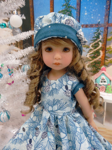 Frosted Pinecones - dress, hat, tights & shoes for Little Darling Doll or 33cm BJD