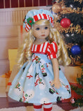 Frosty - dress, hat, tights & shoes for Little Darling Doll or 33cm BJD