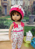 Fuchsia Meadow - romper, hat & sandals for Little Darling Doll or 33cm BJD