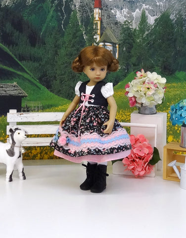 German Alps - dirndl ensemble with tights & boots for Little Darling Doll or 33cm BJD