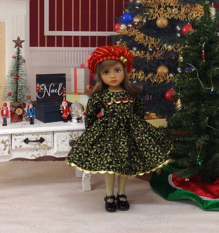 Gilded Holly Bough - dress, hat, tights & shoes for Little Darling Doll or 33cm BJD