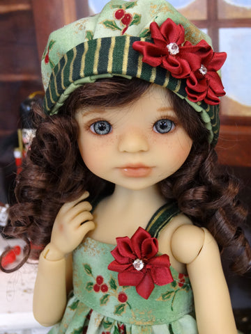 Gilded Holly Branch - dress, hat, tights & shoes for Little Darling Doll or 33cm BJD