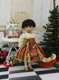 Gilded Poinsettia - dress, tights & shoes for Little Darling Doll or 33cm BJD