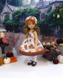 Gilded Pumpkins - dress, jacket, hat, tights & shoes for Little Darling Doll or 33cm BJD