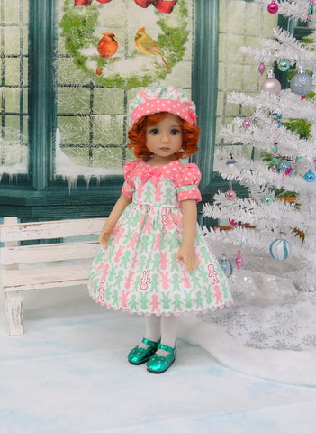 Gingerbread Girl - dress, hat, tights & shoes for Little Darling Doll or other 33cm BJD