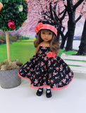 Gingham Rose - dress, hat, socks & shoes for Little Darling Doll or other 33cm BJD
