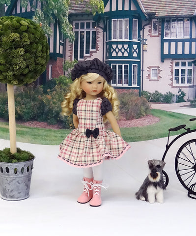 Girly Plaid - dress, beret, tights & boots for Little Darling Doll or other 33cm BJD