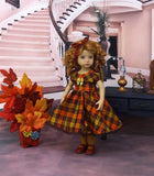 Glittering Plaid - dress, tights & shoes for Little Darling Doll or other 33cm BJD