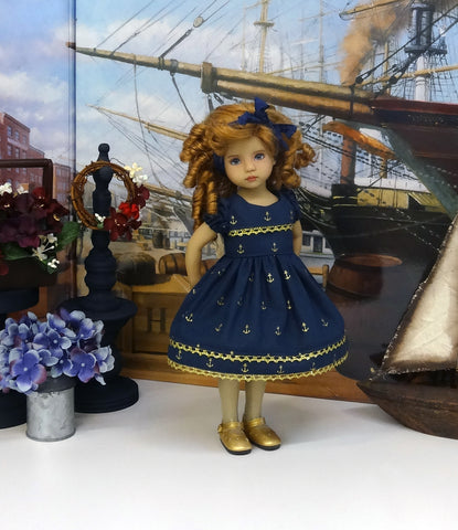 Golden Anchor - dress, tights & shoes for Little Darling Doll or 33cm BJD