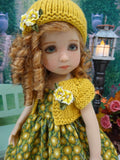 Golden Autumn Mum - dress, sweater, hat, tights & shoes for Little Darling Doll or 33cm BJD