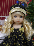 Golden Holly - dress, hat, tights & shoes for Little Darling Doll or 33cm BJD