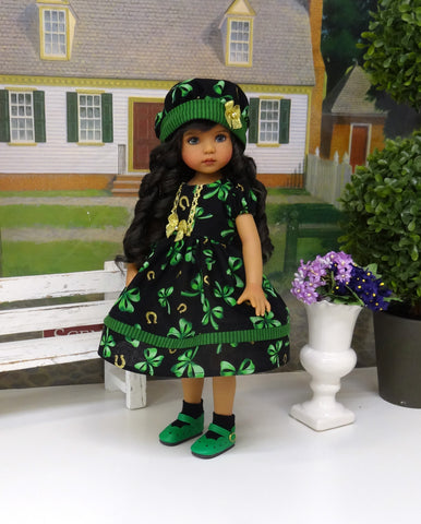Golden Horseshoe - dress, hat, socks & shoes for Little Darling Doll or 33cm BJD