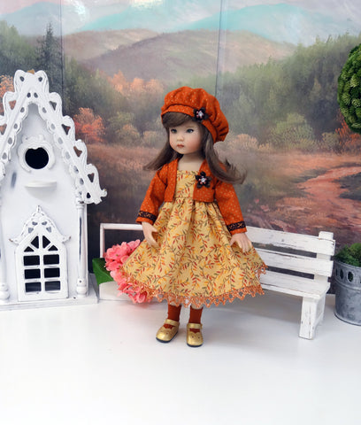 Golden Leaves - dress, jacket, beret, socks & shoes for Little Darling Doll or 33cm BJD