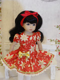 Golden Poinsettia - dress, tights & shoes for Little Darling Doll or 33cm BJD