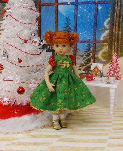 Golden Reindeer - dress, socks & shoes for Little Darling Doll or 33cm BJD