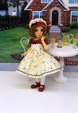 Grand Old Flag - dress, hat, tights & shoes for Little Darling Doll or other 33cm BJD