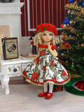 Grand Poinsettia - dress, beret, tights & shoes for Little Darling Doll or 33cm BJD