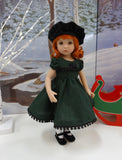 Green Check - dress, hat, tights & shoes for Little Darling Doll or 33cm BJD