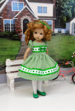 Green Clover - dress, tights & shoes for Little Darling Doll