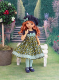Green Meadow - dress, beret, tights & shoes for Little Darling Doll