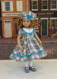 Grey Tartan - dress, beret, tights & shoes for Little Darling Doll